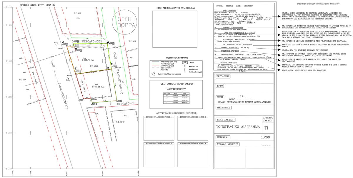 Δείγμα Τοπογραφικού Διαγράμματος Εντός Πόλεως - ΑΝΑΠΤΥΞΗ Κτηματομεσιτική